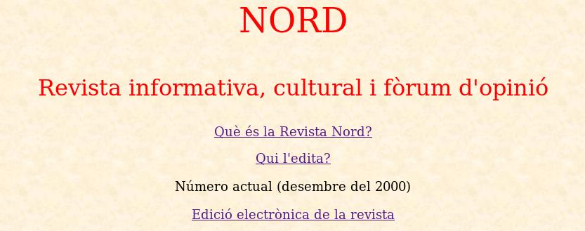 Recuperen la web de la Revista Nord de l'any 2000