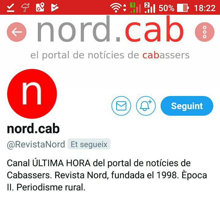 El canal d'Última Hora de nord.cab a Twitter