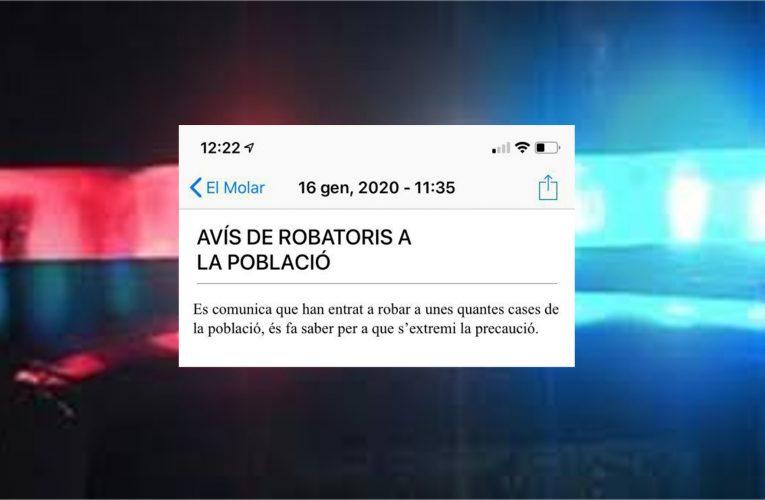 Alerta: robatoris a poblacions veïnes