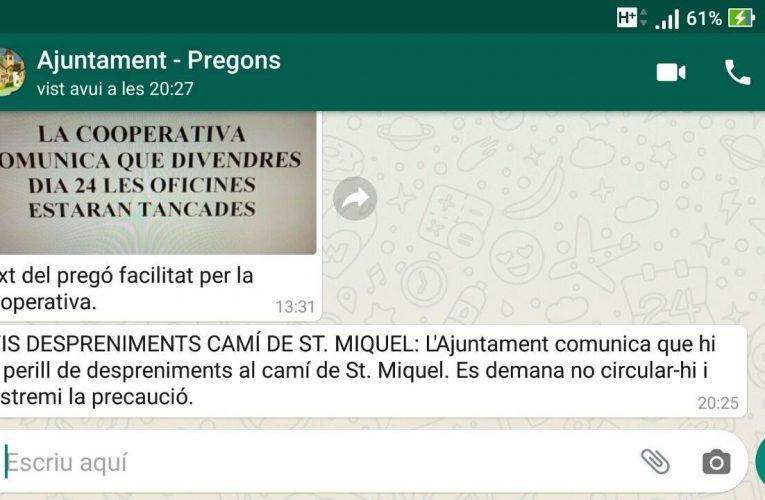 L'Ajuntament demana que no se circuli pel Camí Nou pel risc de despreniments