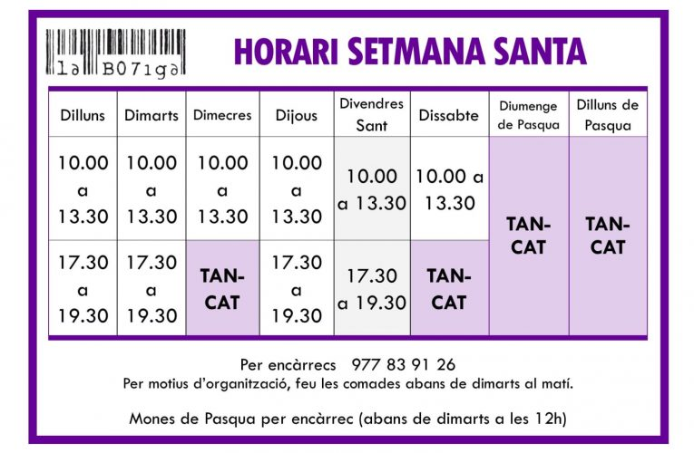 Els horaris de la botiga durant la Setmana Santa
