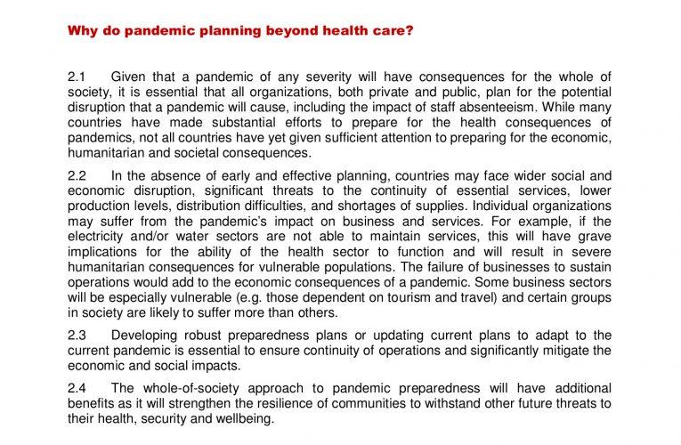Un informe del 2009 de l'OMS ja advertia de les conseqüències econòmiques i socials d'una pandèmia