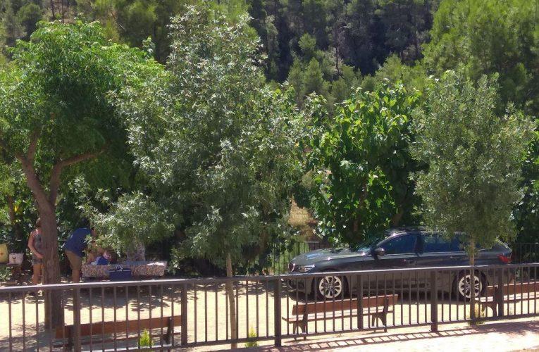 Uns descarats aparquen un cotxe a l'interior del parc mentre fan un pícnic