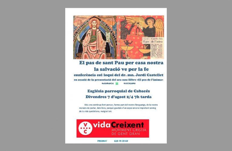 Conferència de Vida Creixent a l'església de Cabassers el proper divendres